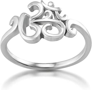 Chuvora 925 Sterling Silver Calligraphy Style Yoga, Aum, Om, Ohm, Sanskrit Ring