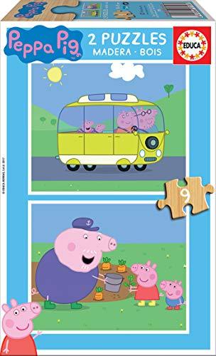 Educa - Peppa Pig Animales 2 Puzzles de 9 Piezas, Multicolor (17156)