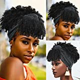 Best African American Wigs - Short Afro Kinky Curly Headwrap Wigs with Bangs Review