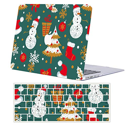 Hard Case Compatible with MacBook Pro 15 inch 2019 2018 2017 2016 Release A1990 A1707, AJYX Hard Plastic Shell Case & EU Keyboard Cover for Mac Pro 15 with Touch Bar,Christmas tree & snowman