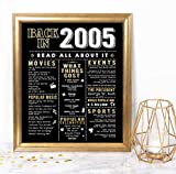 Katie Doodle 15th Birthday Quinceanera Decorations Anniversary Presents Gifts for Him Her - Includes Back in 2005 Sign [Unframed], Black Gold