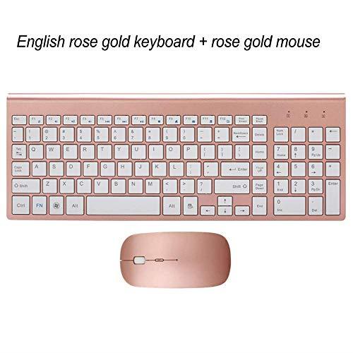 LMDZSW Ultradünne Business Wireless Tastatur und Maus Combo 102 Tasten Geräuscharme Wireless Tastatur Maus für Mac PC Win XP / 7/10 TV-BoxRose Gold KM-US