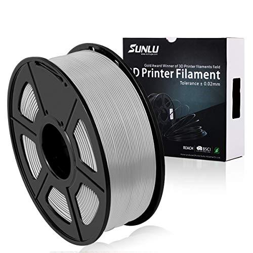 SUNLU PLA Plus Argento, PLA Plus filamento 1,75 mm, Precisione dimensionale con odore basso +/- 0,02 mm, Filamento per stampa 3D, bobina 2,2 LBS (1 KG) per stampanti 3D e penne 3D, Argento