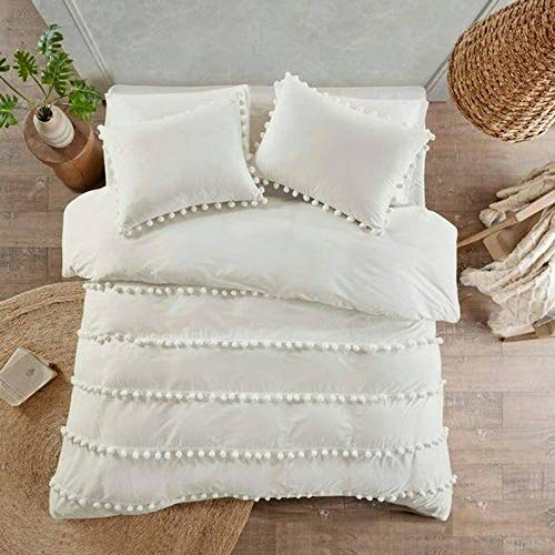 Bohemian Dorm Decor Off White Doona Duvet Cover with Pom Pom Lace Boho Comforter cover Quilt Cover Bedding Sheet Boho Bedspread With 2 Pillowcases 2 Cushion covers Set (Twin Size 60x90 Inches)