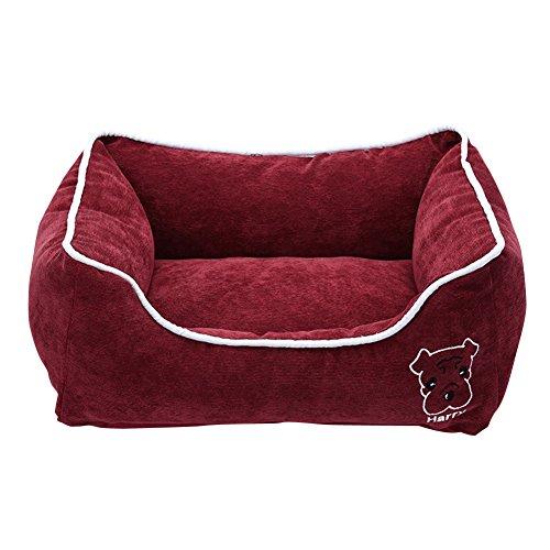 Anyu Lit pour Chien Panier Doux Comfortable Corbeille Coussin Vin Rouge L