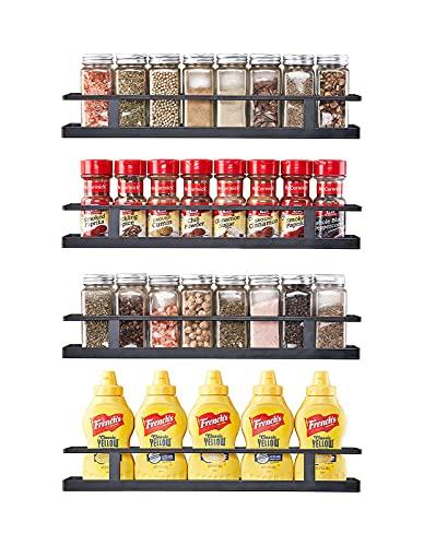 Organizador de especias para colgar en la pared (juego de 4) estante de condimentos para gabinete, despensa, puerta o pared de cocina, 4 niveles