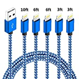 5pack,(3ft,3ft,6ft,6ft,10ft), Certified iPhone Charger Lightning Cable High Speed Nylon Braided USB Fast Charging&Data Syncs Cord Compatible iPhone 11 Pro Xs MAX XR 8 8 Plus 7 7 Plus 6s (BLUEWHITE)