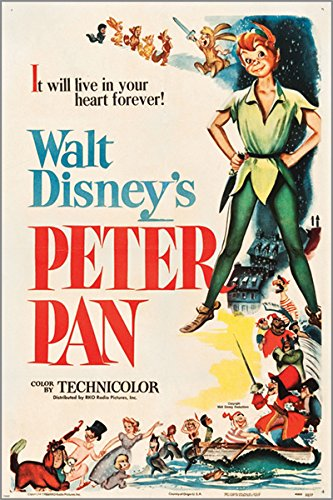 PETER PAN (RKO 1953) vintage film poster WALT DISNEY muzikale KIDS 24X36 nieuw