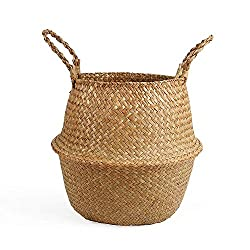 Braided Crown Natural Plush Woven Seagrass Tote Belly Basket Storage Plant Ba...