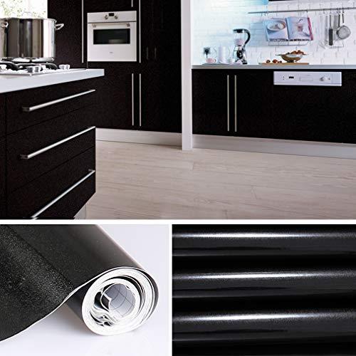 KINLO meubelfolie Zwart 61x500cm gemaakt van hoogwaardig PVC keukenfolie lijmfolie behang keukensticker keukenkasten waterdichte sticker voor kast zelfklevende folie sierfolie