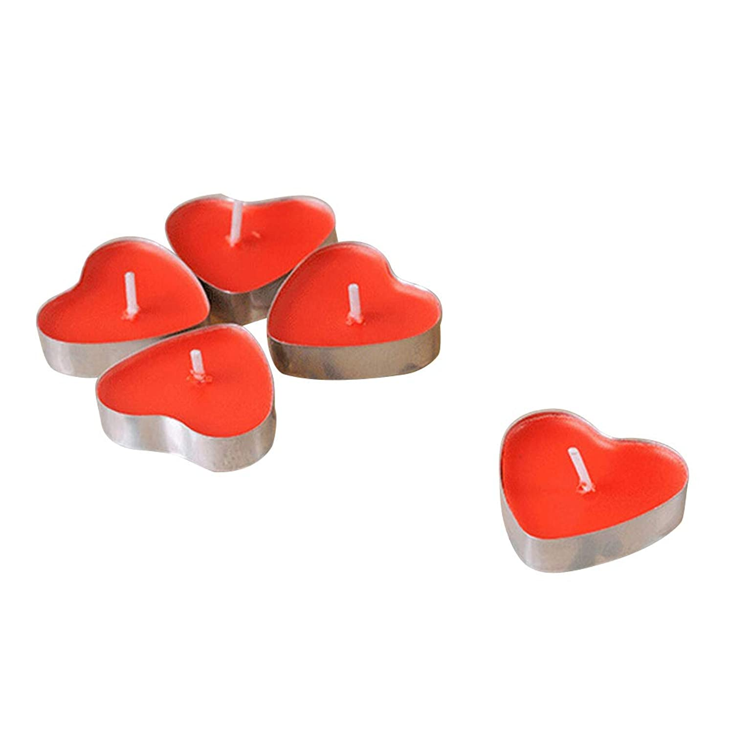 小さい無意識端末VORCOOL 50本禁煙ロマンチックな蝋燭の結婚提案ハート型のろうそくの蝋燭