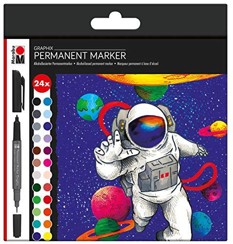 Marabu 0147000000102 - Permanent Marker Graphix 24er Set Hero of Galaxy, mit Doppelspitze 1-2 mm und 0,5 mm, brillante Farben, schnelltrocknende, alkoholbasierte Tinte, geruchsarm und wasserfest