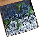 Roqueen 25 Piezas Flores Rosas Artificiales Espuma Rosa Falsa con Tallos para Boda Nupcial Ramos Centros de Mesa Preparativos Partido Hogar Decoración (Azul Combo)