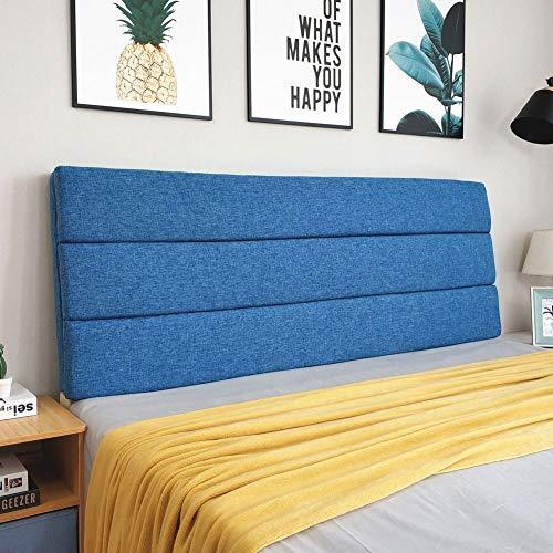 Home Pillow Cabecero tapizado Cama Color Sólido Respaldo del Amortiguador De La Almohadilla Suave Sofá Reposacabezas Tapizados Lumbares Pads, con Cabecera (Color : Blue, Size : 180x5x50cm)