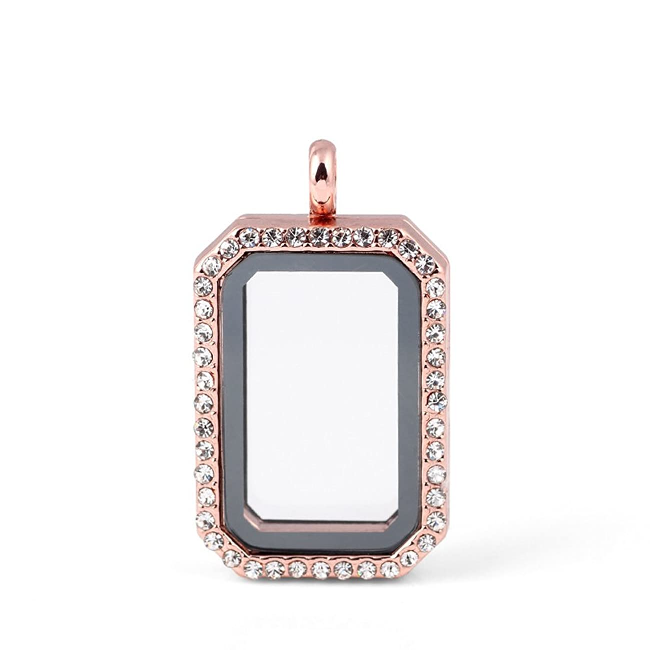 Paialco DIY Rectangle Floating Locket Pendant with a Free 25-1/2 Inch Chain-Rose Gold