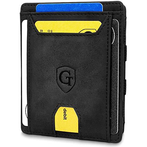 GenTo® Pacific - Geldbörse Herren - TÜV geprüft - Magic Wallet - Magischer Geldbeutel mit großem Münzfach - Inklusive Geschenkbox - Smart Wallet - Portemonnaie Männer (Schwarz - Soft)