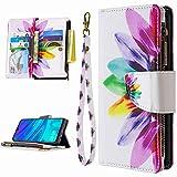 Miagon 9 Kartensteckplätzen Lederhülle für iPhone 6/6S,Bunt Reißverschluss Flip Hülle Wallet Case Handyhülle PU Leder Tasche Schutzhülle,Sonnenblume