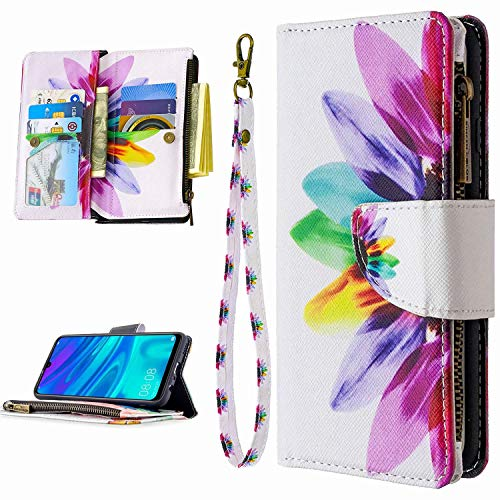 Miagon 9 Kartensteckplätzen Lederhülle für Huawei P Smart Z,Bunt Reißverschluss Flip Hülle Wallet Case Handyhülle PU Leder Tasche Schutzhülle,Sonnenblume