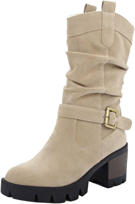 KemeKiss Women Fashion Chunky Heel Mid-Calf Boots Autumn Winter Slouch Boots