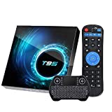 EASYTONE Android 10.0 TV Box 4GB Ram 32GB ROM,Android TV Box Quad-Core 64Bits Support Dual Wi-Fi 2.4G+5G BT 5.0 4K6K Ultra HD H.265 Smart Boxes with Mini Wireless Keyboard & Remote Control
