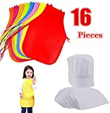 AIVS 16 Pieces Children Kids Art Smock Painting Aprons & Chef Hats for Kitchen, Classroom, Community Event, Crafts and Art Painting Activity,Kid's Size(M 2-9 Year)