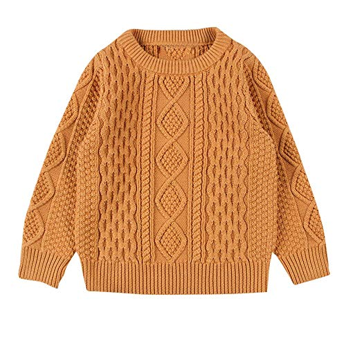 Yihaojia Winter Autumn Keep Warm Sweater Children Baby Girl Boy Knitted Sweater Solid Color Sewing Cardigan Tops Outfit Clothes 12M-6T(age: 10-12 month, Gold)