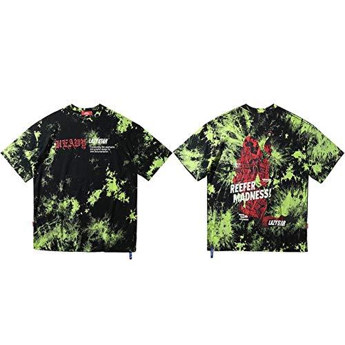 GVDFSEYL Hombres Hip Hop Camiseta Tie Dye Oversize Streetwear Camiseta Moda Hiphop Harajuku Camiseta Verano Camisetas de Manga Corta Camisetas Algodón L A800656 Verde