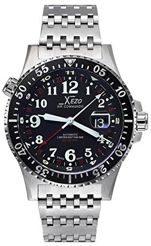 Xezo Air Commando D45-T- Reloj de piloto, Suizo, automático, con 3Zonas horarias, Resistente al Buceo 300Metros