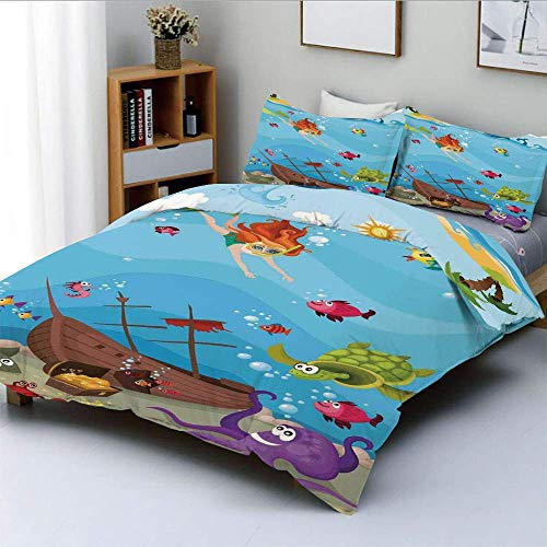 Duvet Cover Set,Under The Sea Theme Cartoon Underwater Diving Sea Creatures Shells Seahorse Decor Decorative Decorative 3 Piece Bedding Set with 2 Pillow Sham,Best Gift for Kid