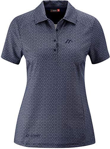 Maier Sports Pandy Polo Femme, Dark Blue Allover Modèle DE 36 2020 T-Shirt Manches Courtes