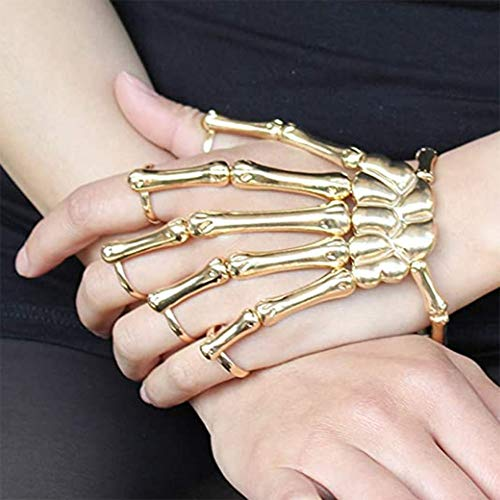 ETEERNVITY Unique Exaggerate Style Skull Finger Hand Bone Bracelet,Metal Skeleton Bangle Horror Halloween Goth Ghost Claw Ornaments (Gold)
