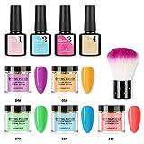WISREMT Kit de uñas de polvo de inmersión, sistema de inicio de polvo de inmersión efecto luminoso de nueva moda para uñas de manicura de bricolaje Set de arte de uñas Kit esencial de 5 colores