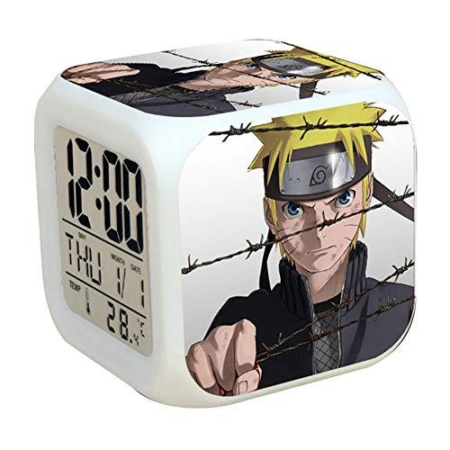 Lunanana Naruto Shippuden Wecker, kreative bunte LED-Verfärbung, Wecker, quadratisch, dreiseitiger Druck, kleiner Wecker für Studenten, American Football, H05