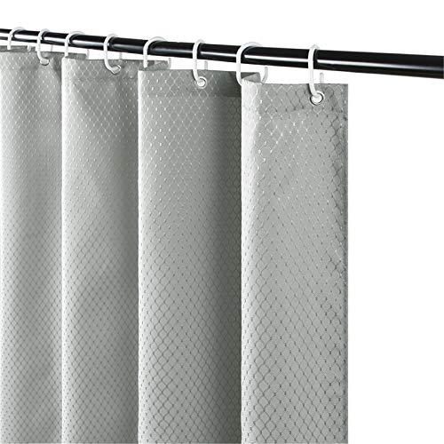 Furlinic Duschvorhang Überlänge 180x210 für Badewanne & Bad, Schwerer Badvorhang aus Stoff Wasserabweisend Waschbar Anti-shcimmel, Shower Curtains mit 12 Duschvorhangringen Waffelmuster Grau.