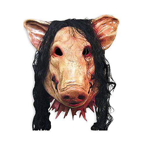 Emorias 1 Pcs Mascara Latex Oscuro Cabeza de Cerdo Terror Prop Casa Embrujada Disfraz Mascarada Careta Respirable Cospleyarse Creepy Máscara