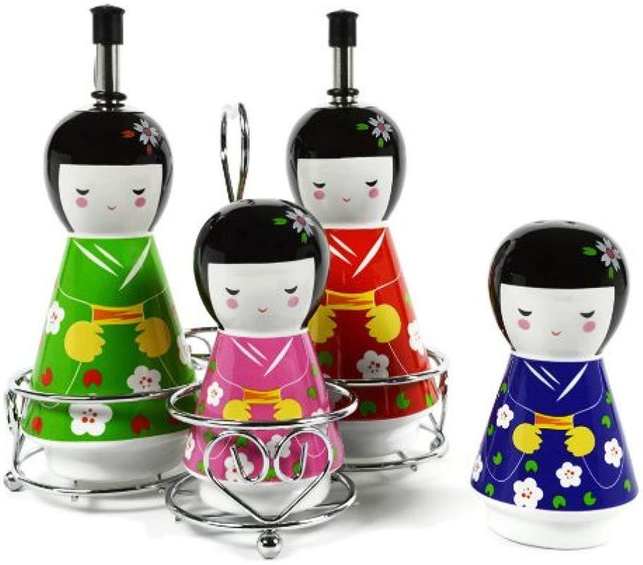 Little Big Favors Geisha Ceramic Oil And Vinegar Dispensers Salt And Pepper Shakers Cruet Set