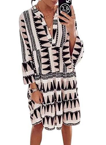 CORAFRITZ Damen-Minikleid mit langen Ärmeln, V-Ausschnitt, Leopardenmuster, Tunika, Etuikleid Gr. 44-46, Schwarz