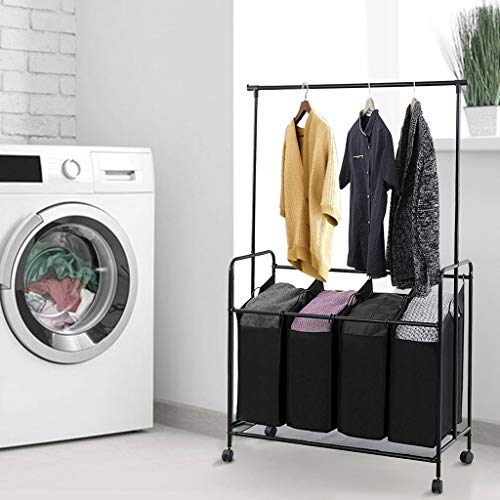 Ackful 4-bag Rolling Laundry Sorter With Hanging Bar Heavy-duty With Wheel Storage Cart for Family