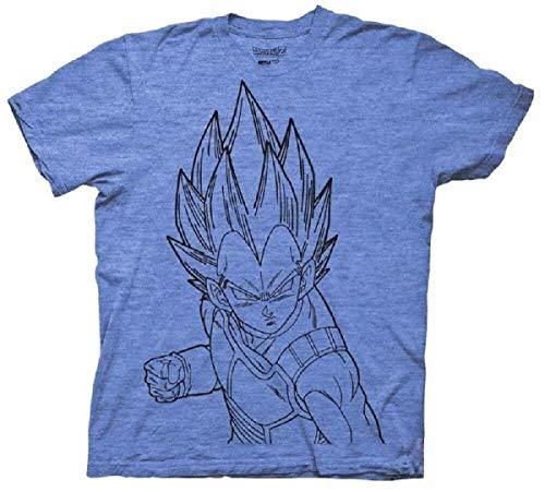 Ripple Junction Dragon Ball Z Vegeta Line Art DBZ Anime Adult T-Shirt Blue