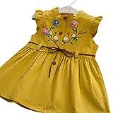 dontdo Bebé niña bordada melocotón flor chaleco falda moda chica bordado flor botón O cuello chaleco plisado manga princesa vestido amarillo 70cm