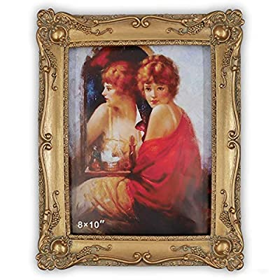 Simon's Shop Antique Picture Frames 8x10 Baroque Photo Frames 10 x 8 in with Floral Relief, Wall and Tabletop Picture Frames