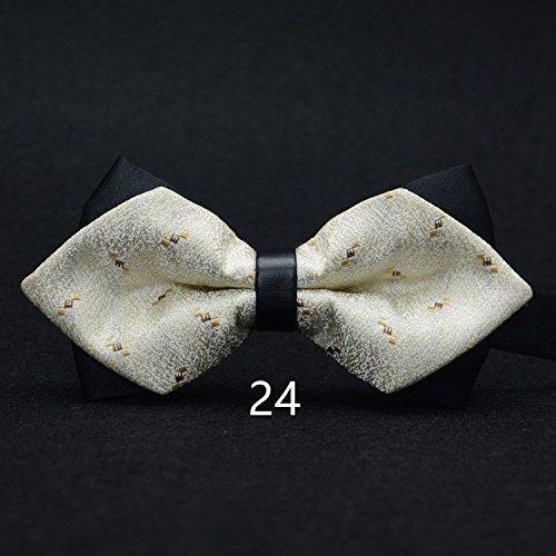 WUNDEPYTIE Fliege Krawatte Polyester Herren Hochzeitsanzug Business Retro Hellgelb