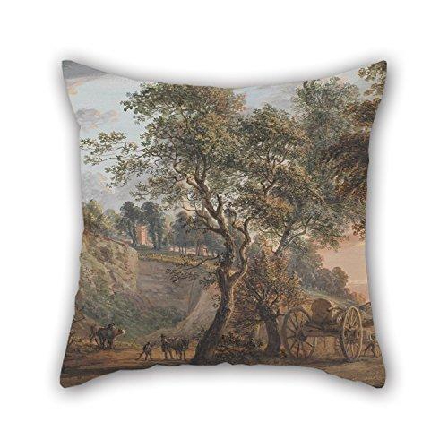 NICEPLW Funda de almohada de pintura al óleo Paul Sandby, vista en Charlton, Kent, para esposa, familiares, sala de dibujo, comedor, banco de 40 x 40 cm (cada lado)