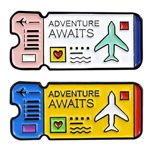 CoSunny Adventure Awaits - Juego de 2 pasadores de Solapa esmaltados para Viajes, diseño de boleto de Aire, Insignias de exploración, Accesorios de Ropa, Regalos