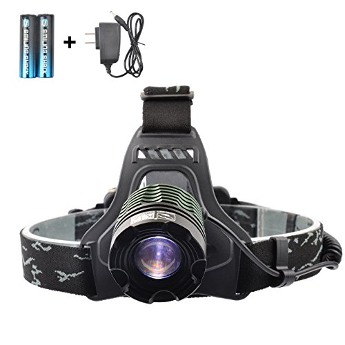 Smiling Shark SS-K12 2000 Lumens XML-T6 LED Headlamp, 3 Modes Adjustable Focus Zoomable Headlight Waterproof for Outdoor+2 X Rechargeable Batteries+1 X Charger
