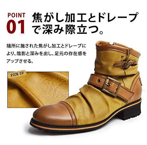 『[ジーノ] ドレープ エンジニアブーツ ショートブーツ ワークブーツ ブーツ サイドジップ メンズ 靴』の3枚目の画像