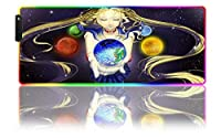 ゲーミングマウスパッド美少女戦士セーラームーンアニメガールゲーミングマウスパッドXxLゲーマーデスクパッドRGBキーボードパッドゲーミングデスクLEDアニメーションマット(B)-800x300x4 mm