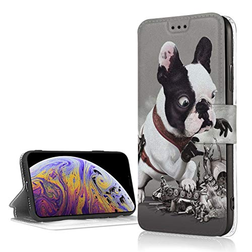iPhone Xr Wallet Case Credit Card Holder French Bulldog Mission Went Wrong Funny Premium Leather Durable Shockproof Protective Cover iPhone Xr 6.1'