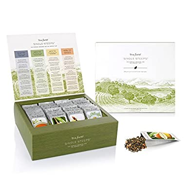 Tea Forté SINGLE STEEPS Loose Tea Sampler, Assorted Variety TEA CHEST, 28 Different Single Serve Pouches - Black Tea, Green Tea, White Tea, Herbal Tea