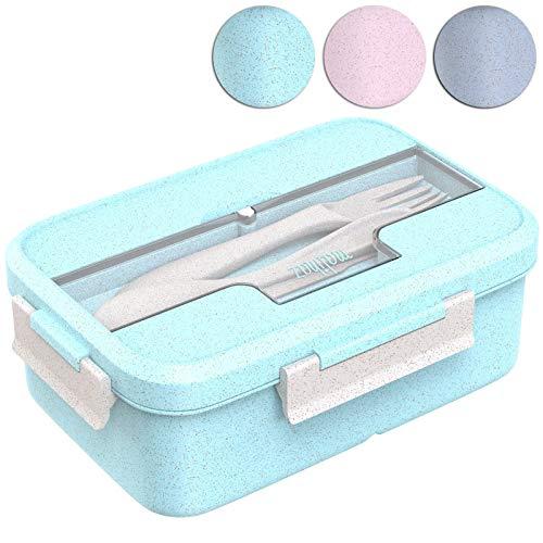 Malihaz Brotdose inkl. Besteck - Lunchbox aus Bio basiertem Weizenstroh I Spülmaschinenfeste Bentobox mit DREI Fächern (Green)